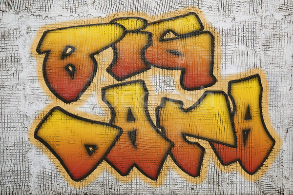 Grand données graffitis plâtre mur style Photo stock © PixelsAway