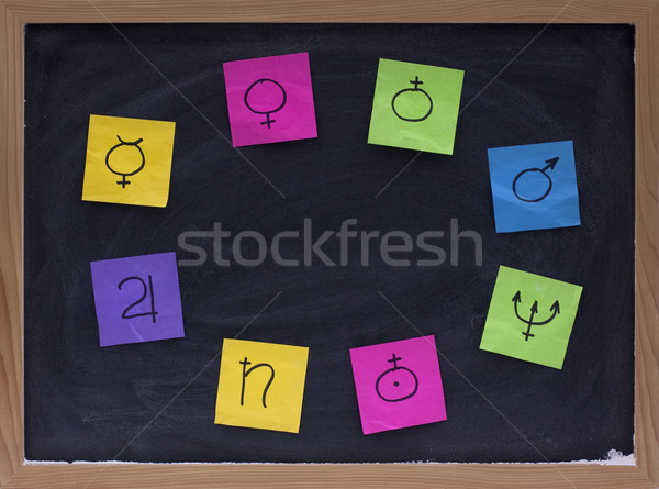 copy space on blackboard surrounded by planet signs Stock photo © PixelsAway