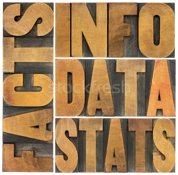 information, data, facts, stats words Stock photo © PixelsAway