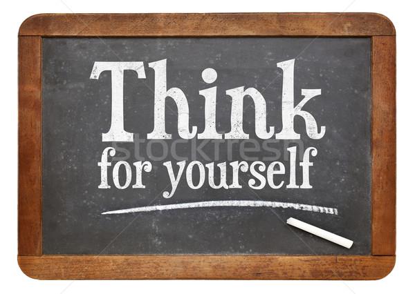 Denk jezelf Blackboard teken tekst Stockfoto © PixelsAway