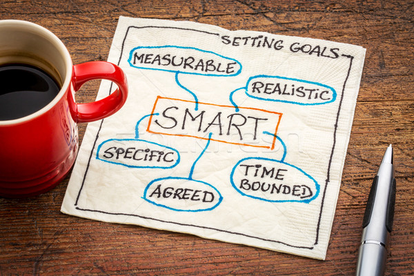 setting SMART goals concept on napkin Stock photo © PixelsAway