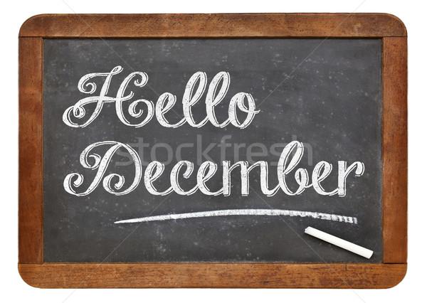 Hallo december teken Blackboard witte krijt Stockfoto © PixelsAway