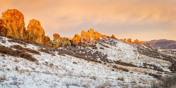 Ruggegraat rotsformatie bergen noordelijk Colorado winter Stockfoto © PixelsAway