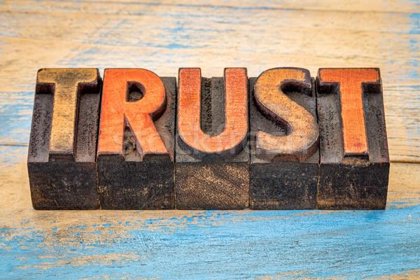 доверия Vintage древесины тип слово Сток-фото © PixelsAway