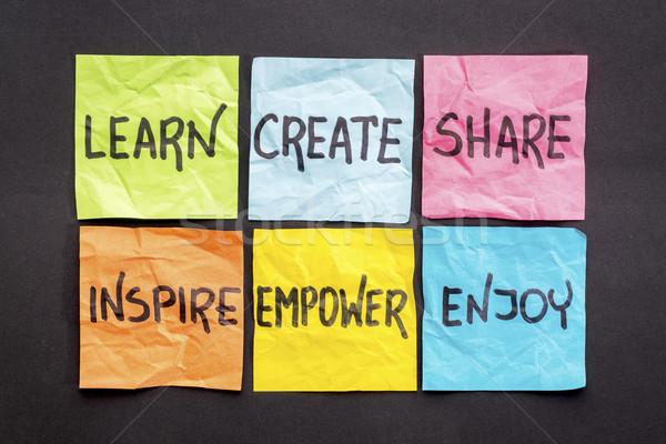Nauczyć inspirować cieszyć się zestaw karteczki Zdjęcia stock © PixelsAway