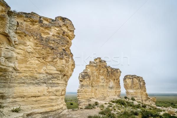limestone pilars in Kansas prairie Stock photo © PixelsAway