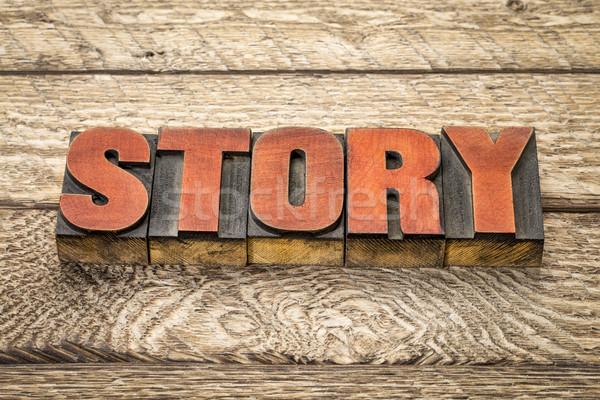 Stock photo: story word in vintage letterpress wood type