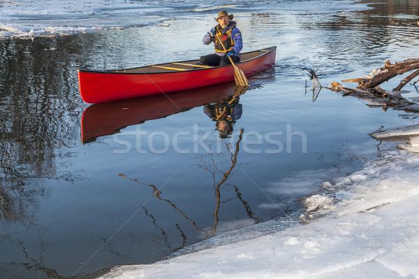 canoe paddling in winter Stock photo © PixelsAway