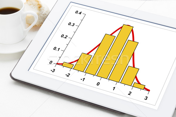 data histogram on digital tablet Stock photo © PixelsAway