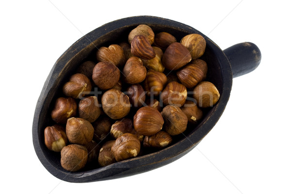 Stockfoto: Schep · hazelnoten · geïsoleerd · witte · voedsel · moer