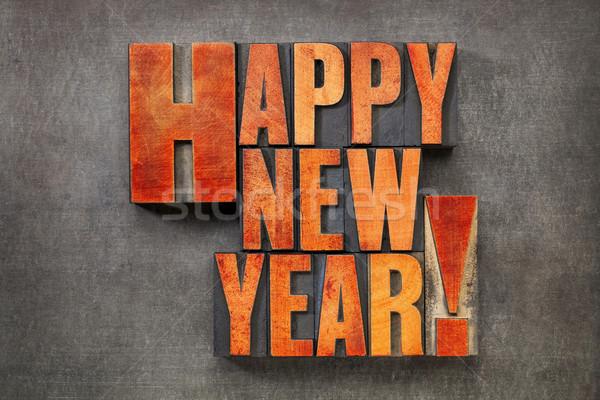 Stockfoto: Gelukkig · nieuwjaar · wenskaart · tekst · vintage · hout