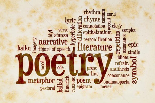 Poesia nuvem da palavra vintage papel papel velho amarelo Foto stock © PixelsAway