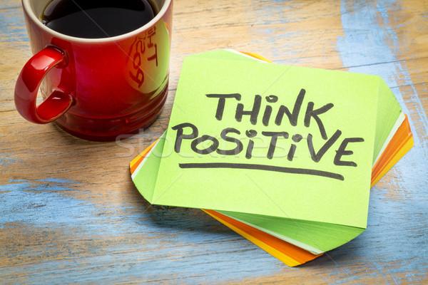 Foto stock: Pensar · positivo · nota · café · inspirado · letra