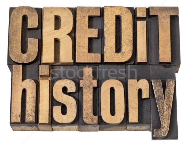 Kredit történelem szöveg fa pénzügy Stock fotó © PixelsAway