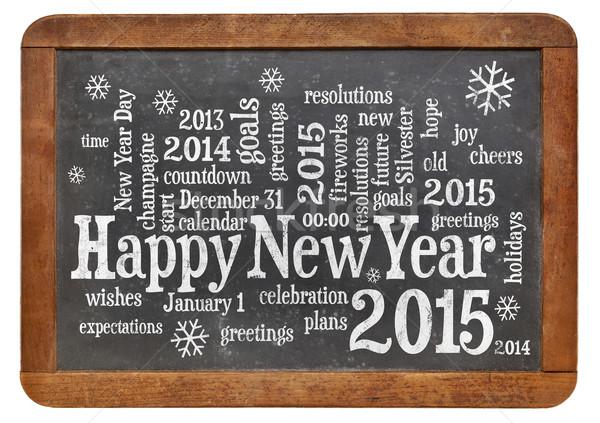 Feliz ano novo 2015 lousa nuvem da palavra branco giz Foto stock © PixelsAway