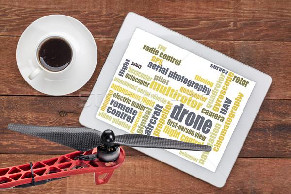 drone word cloud on tablet Stock photo © PixelsAway