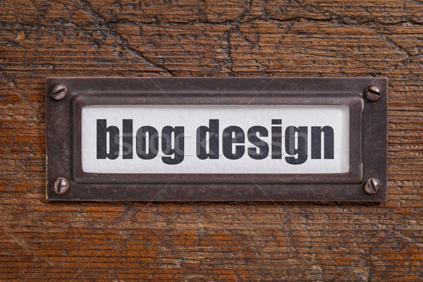 Blog projeto arquivo etiqueta bronze Foto stock © PixelsAway