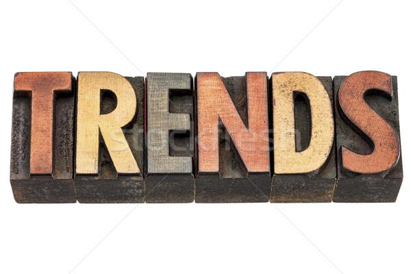 Trends woord hout type geïsoleerd tekst Stockfoto © PixelsAway