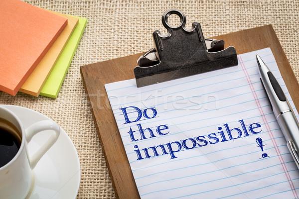 Lehetetlen vágólap tanács bátorítás toll kávé Stock fotó © PixelsAway