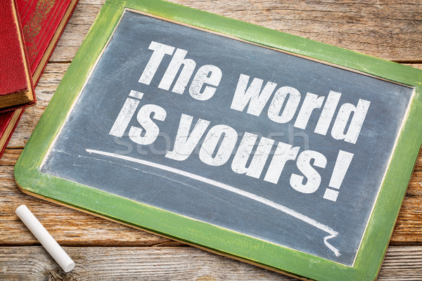 The world is yours on blackboard Stock photo © PixelsAway