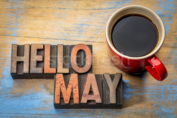 Hello May word abstract in wood type Stock photo © PixelsAway