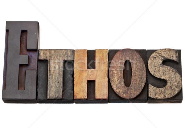 Stockfoto: Woord · cultuur · geïsoleerd · tekst · vintage · hout
