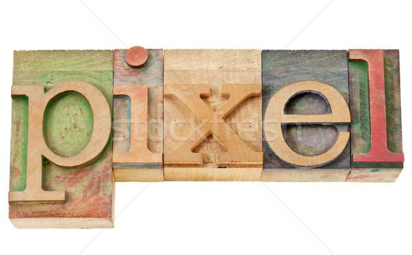 Stok fotoğraf: Piksel · kelime · ahşap · tip · yalıtılmış · bağbozumu