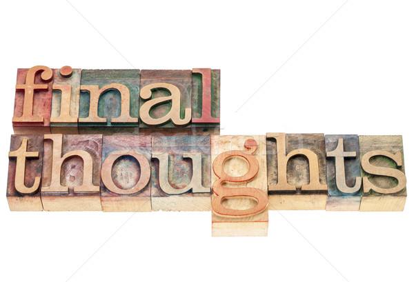 Finale pensées bois type isolé mots Photo stock © PixelsAway