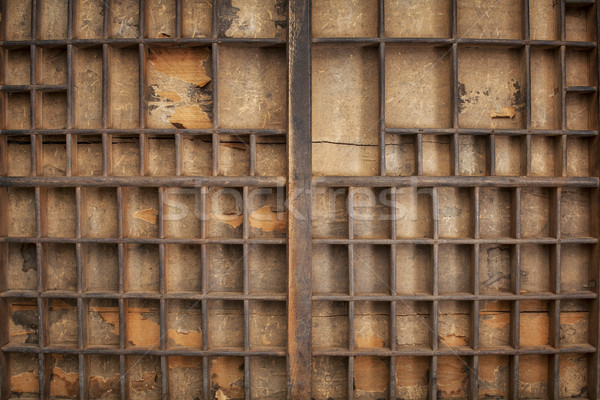 Vintage cajón grunge madera numeroso papel Foto stock © PixelsAway