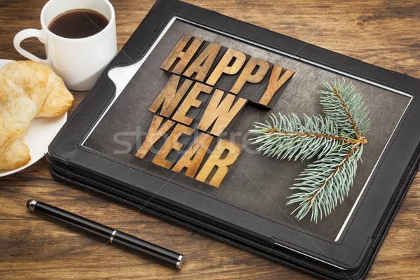 Stok fotoğraf: Happy · new · year · kahvaltı · ahşap · tip · dijital