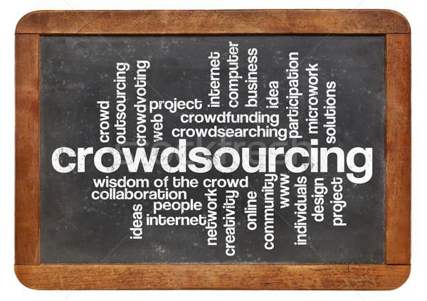 Crowdsourcing kelime bulutu bağbozumu tahta yalıtılmış beyaz Stok fotoğraf © PixelsAway