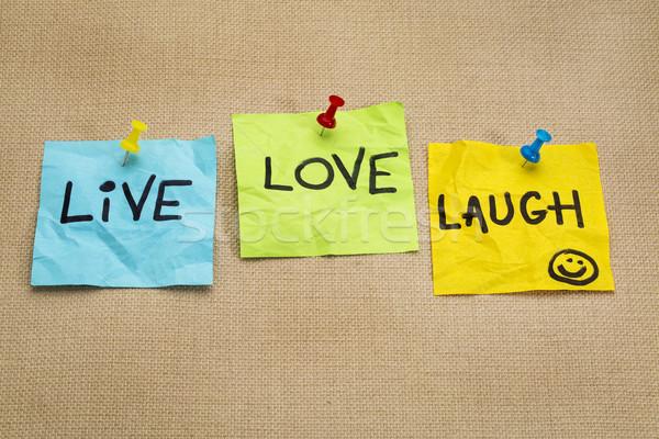 ライブ 愛 笑う リマインダー ノート やる気を起こさせる ストックフォト © PixelsAway