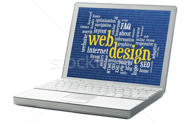 Web tasarım kelime bulutu gelişme ikili yalıtılmış dizüstü bilgisayar Stok fotoğraf © PixelsAway