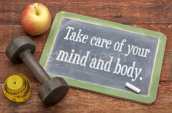 Elvesz törődés elme test iskolatábla felirat Stock fotó © PixelsAway