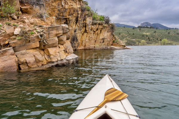 canoe and sandstone cliff Stock photo © PixelsAway