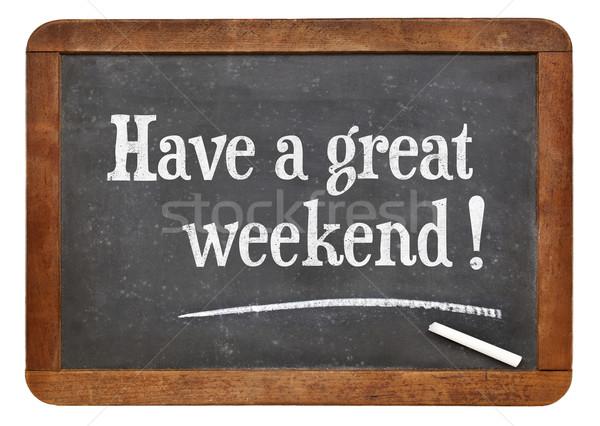 Magnifique week-end tableau noir blanche craie texte Photo stock © PixelsAway