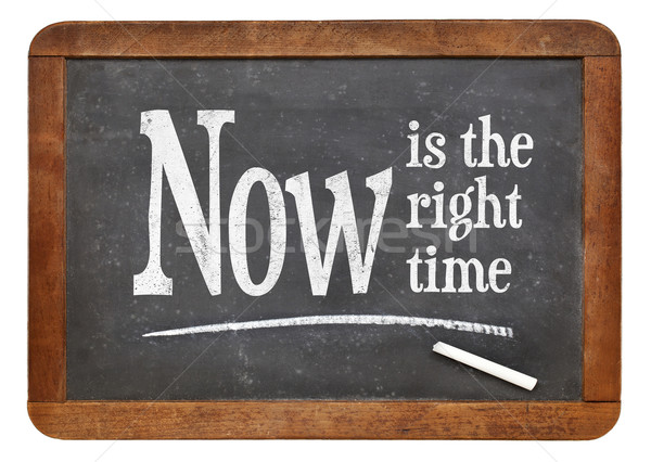 Now is the right time on blackboard Stock photo © PixelsAway
