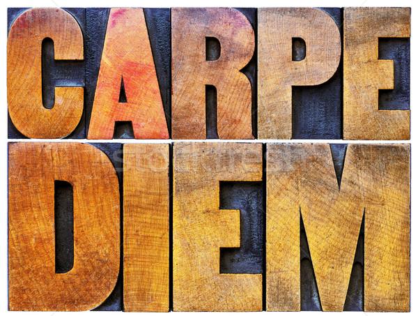 Carpe Diem in letterpress wood type Stock photo © PixelsAway