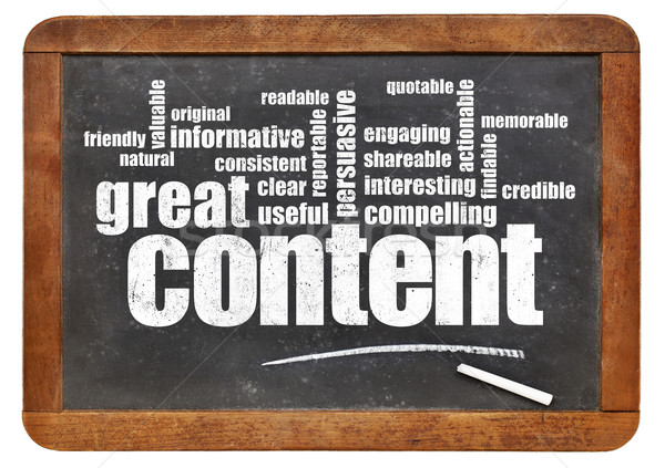 great content word cloud on blackboard Stock photo © PixelsAway