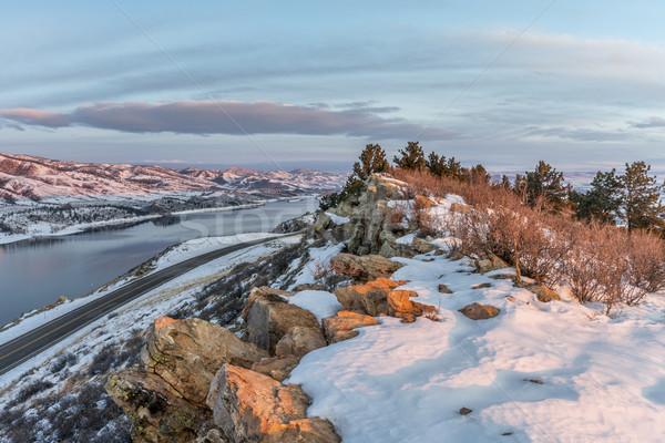 зима Восход водохранилище дороги форт Сток-фото © PixelsAway