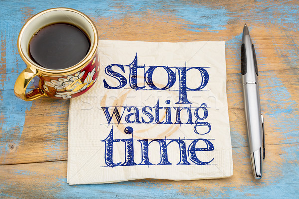 Pare tempo letra guardanapo copo café Foto stock © PixelsAway