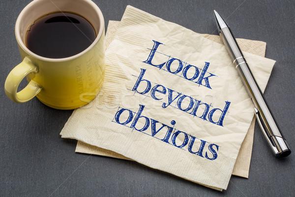 Mirar recordatorio creatividad motivación escritura servilleta Foto stock © PixelsAway
