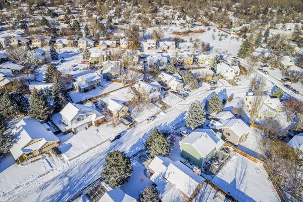 residential street aerial view Stock photo © PixelsAway