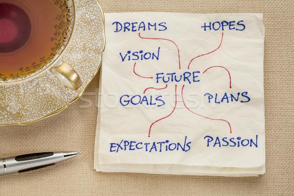 dreams, goals, plans, visionn napkin doodle Stock photo © PixelsAway