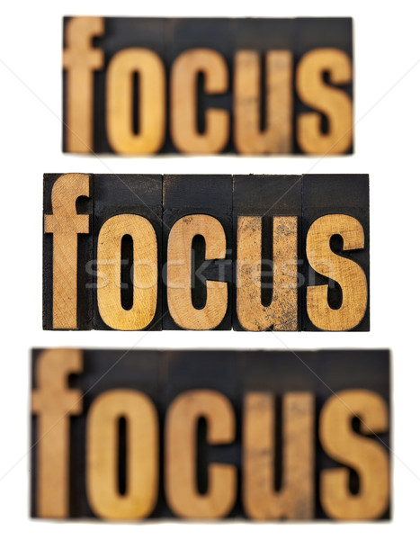 Focus hout type woord uit collage Stockfoto © PixelsAway