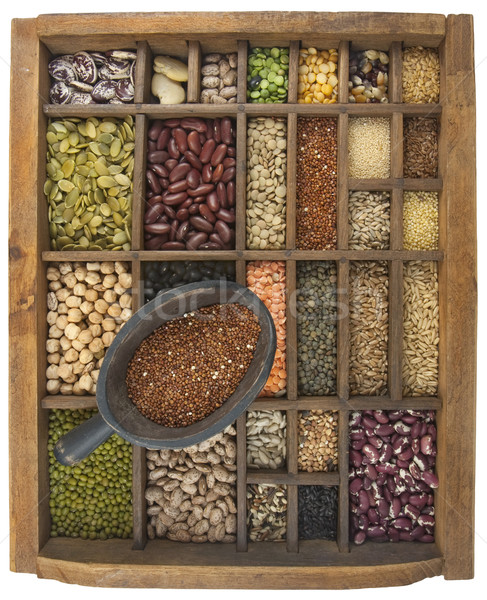 scoop of red quinoa and a variety of beans, grain, seeds Stock photo © PixelsAway