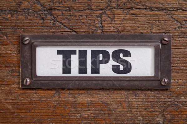 Conseils fichier placard étiquette bronze grunge Photo stock © PixelsAway