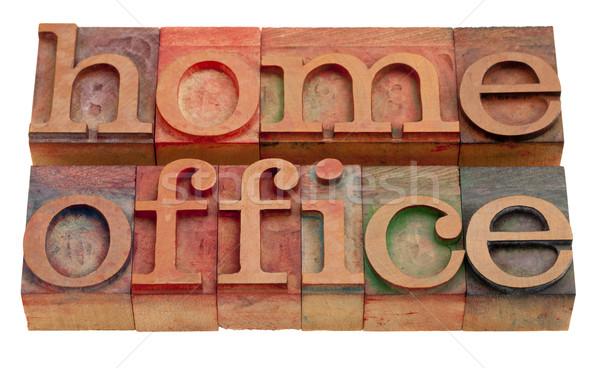 Otthoni iroda szavak klasszikus fából készült magasnyomás Stock fotó © PixelsAway