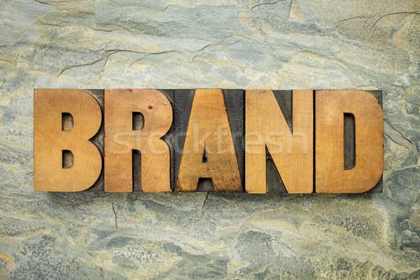 brand word in wood type Stock photo © PixelsAway