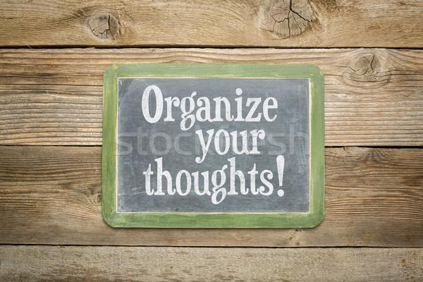 Organizar pensamentos lembrete lousa rústico resistiu Foto stock © PixelsAway